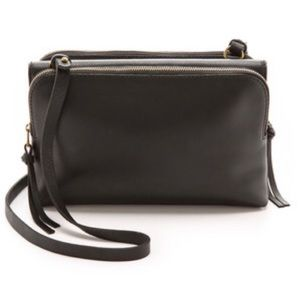 MADEWELL twin pouch black leather crossbody purse